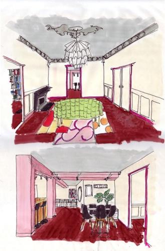 Croquis d'ambiance : vue du salon et de la salle à manger